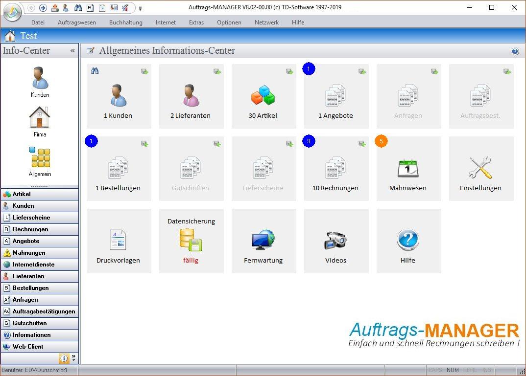 Einfaches Rechnungsprogramm Auftrags Manager Rechnungssoftware